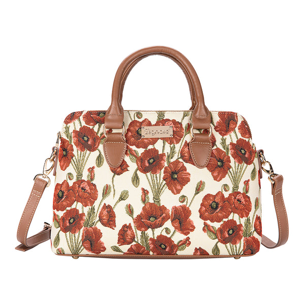 Poppy Triple Compartment Bag | Floral Tapestry Handbag | TRIP-POP