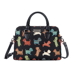 Playful Puppy Triple Compartment Bag | Cute Dog Design Tapestry | TRIP-PUPPY