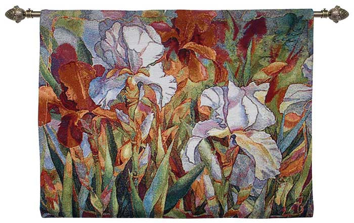 white flowers tapestries and wall hangings