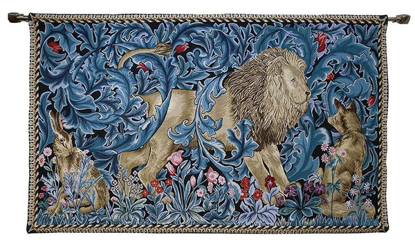 william morris hanging tapestry lion