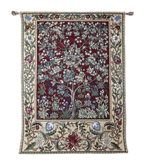 william morris hanging tapestry tree of life red