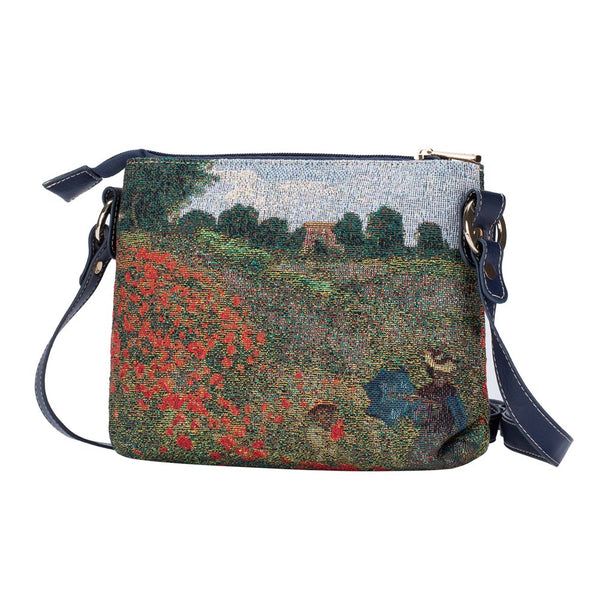 Monet - Poppy Field Cross Body Bag | Art Tapestry Shoulder Strap Bag | XB02-ART-CM-POPFL