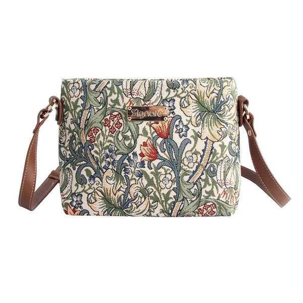 William Morris Golden Lily Cross Body Bag | Floral Tapestry Bag | XB02-GLILY