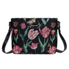 Marrel's Tulip Black Cross Body Bag | Floral Black Crossbody Bag | XB02-JMTBK