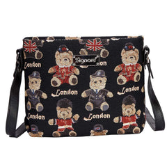 London Bear Cross Body Bag | Tapestry Black Crossbody Bags | XB02-LNBE