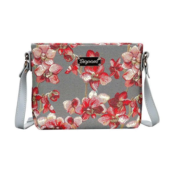 Orchid Across Body Bag | Ladies Floral Weekend Tapestry Fabric Shoulder Handbag Tote | XB02-ORC