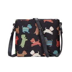 Playful Puppy Cross Body Bag | Black Tapestry Shoulder Bag | XB02-PUPPY