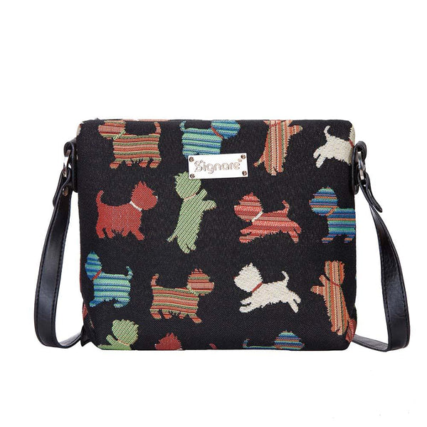 Playful Puppy Cross Body Bag | Black Tapestry Crossbody Bag | XB02-PUPPY