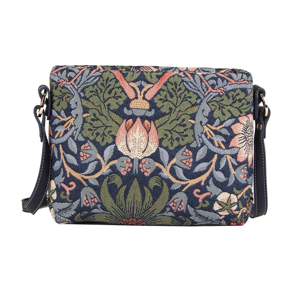 William Morris Strawberry Thief Blue Cross Body Bag | Tapestry Art Shoulder Bag | XB02-STBL