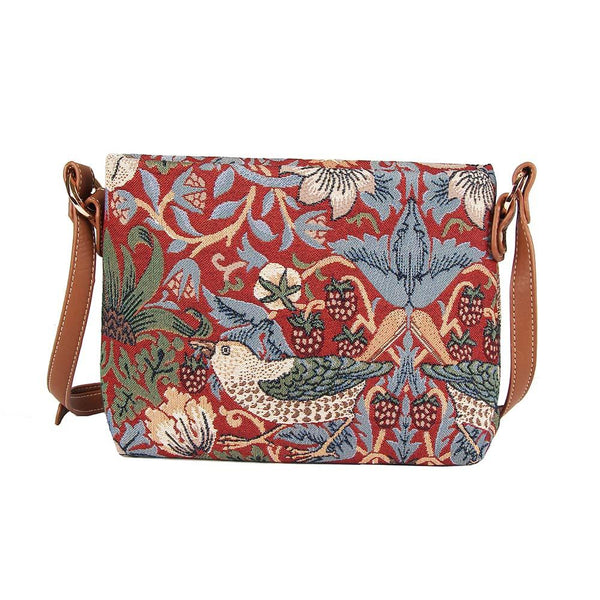William Morris Strawberry Thief Red Cross Body Bag | Floral Art Tapestry Handbag | XB02-STRD