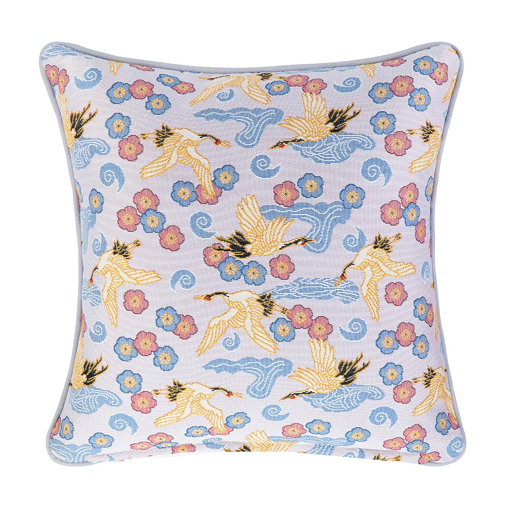 Japanese Crane Tapestry Cushion Cover | Blue 18x18 Cushion Covers | CCOV-CRANE