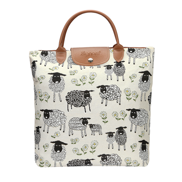 Spring Lamb Foldaway Shopping Bag | White Tapestry Foldaway Bag | FDAW-SPLM