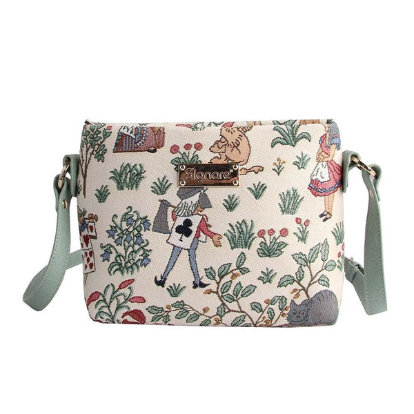 Alice in Wonderland Across Body Bag | Designer Art Unique Side Shoulder Fabric Handbag | XB02-ALICE