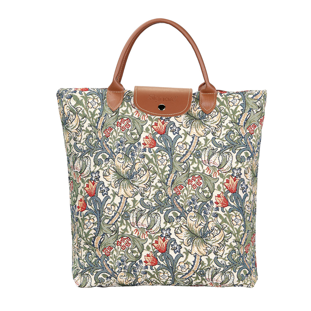 William Morris Golden Lily Foldaway Shopping Bag | Floral Foldable Bag | FDAW-GLILY