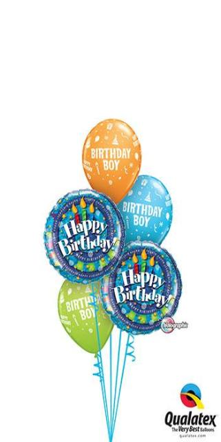 Birthday Boy Candle Spirals (2 Foil, 3 Latex)