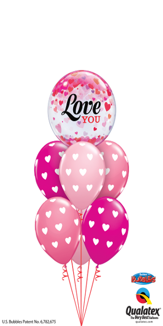 Luxury Bubbling Hearts Valentine (1Bubble, 6 Latex)