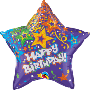 "20"" Purple Happy Birthday Star"