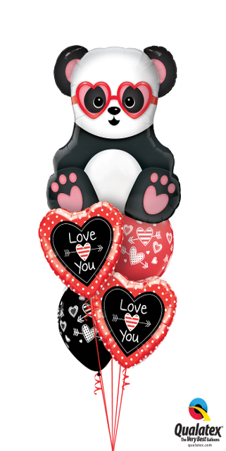 Layer Plus Love you Panda Bear (1 Large Panda Bear, 2 Foil Hearts,2 Latex)