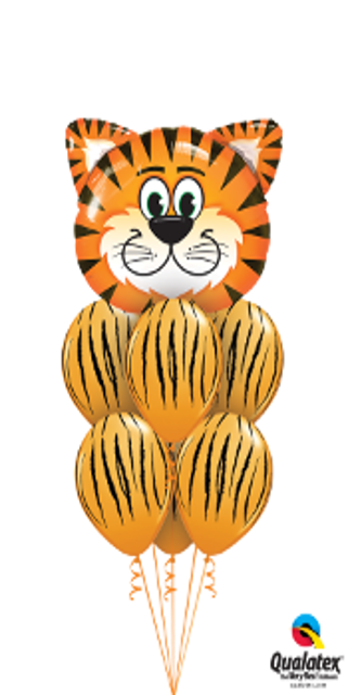 Luxury Tiger Stripes Bouquet ( 1 Large Tiger Head, 6 Latex)