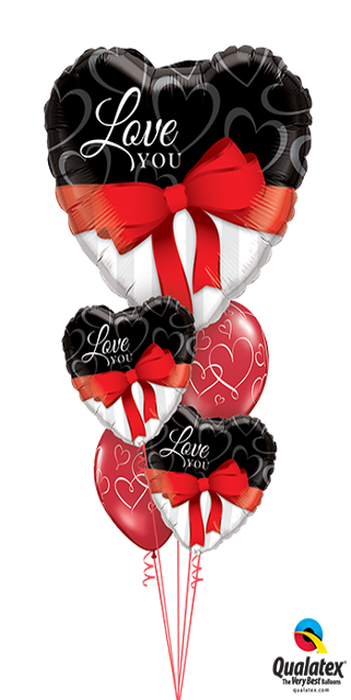 Layer Plus Love You Ribbon & Bows Bouquet (1 Large Foil Heart, 2 Foil Hearts, 2 Latex)