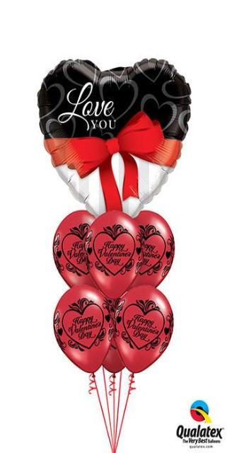 Wrap Your Love in A Bow Bouquet (1 Large Foil Heart, 6 Latex)