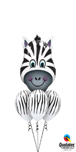 Zany Zebra Bouquet (1 Large Zebra Head, 3 Latex)