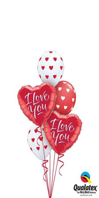Classic Red & White Valentine's Hearts Bouquet (2 Foil Hearts, 3 Latex)