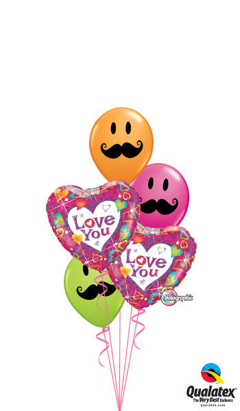 Classic Love You Mustache Faces Bouquet