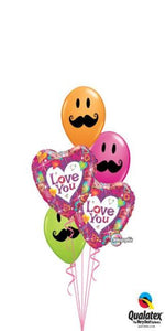 Classic Love You Mustache Faces Bouquet (2 Foil Hearts, 3 Latex)
