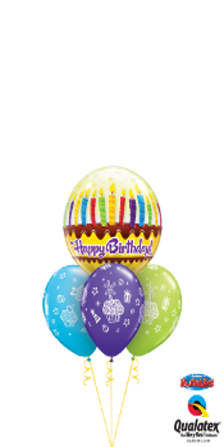 Colorful Birthday Cake and Candles Bouquet (1 Bubble, 3 Latex)