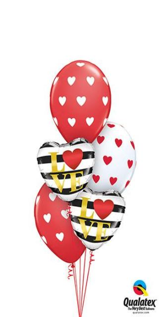 Classic Love Stripes (2 Foil Hearts, 3 Latex)