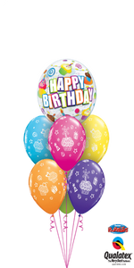 Colorful Birthday Cupcakes & Candles (1 Bubble, 6 Latex)