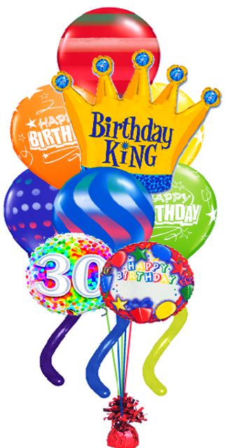 Jumbo Twisty Birthday Bouquet (Name and Optional Age) Crown (10 Balloons)