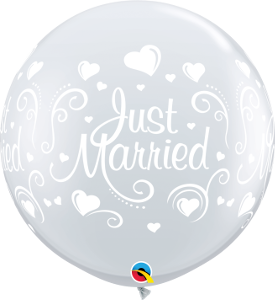 3' DIAMOND CLEAR JUST MARRIED BALLOON