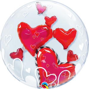 Lovely Floating Hearts Red 24""
