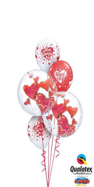 Double Bubble Valentine's Hearts Bouquet (2 Double Bubbles, 3 Latex)