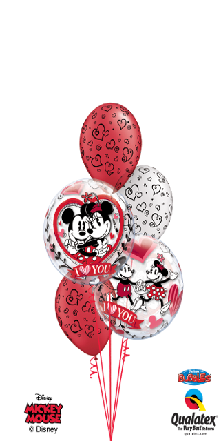 Mickey & Minnie I Love You Bouquet (2 Bubbles, 3 Latex)