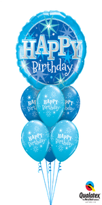 Blue Sparkle Birthday Bouquet (1 Giant Foil, 6 Latex)