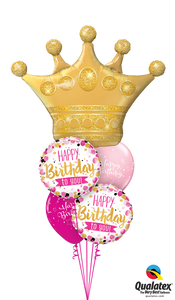 BIrthday Crown Bouquet (1 Large Foil, 2 foils, 2 Latex)