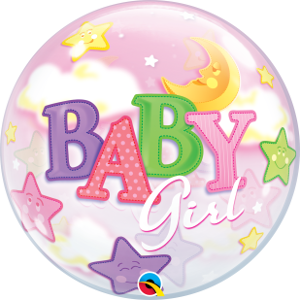 Baby Girl Stars and Moon Bubble