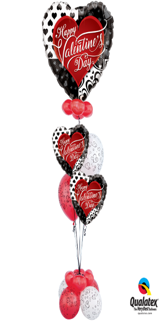 Bold & Beloved Valentine Bouquet (1 Large Foil, 2 Foil Hearts, 14 Latex)