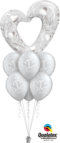 Giant Silver Heart Bouquet