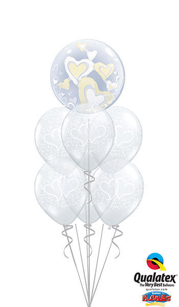 Anniversary Ivory & Hearts Bouquet (1 Bubble, 6 Latex)