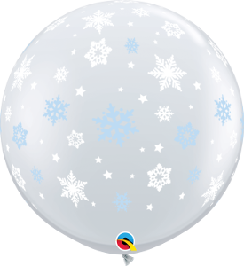 3' DIAMOND CLEAR Blue /White SNOWFLAKES AROUND BALLOON