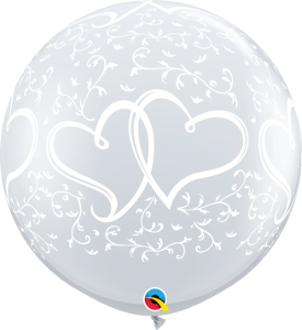 3' DIAMOND CLEAR ENTWINED HEARTS BALLOON