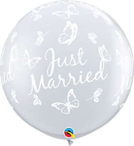 3' DIAMOND CLEAR JUST MARRIED BUTTERFLIES BALLOON