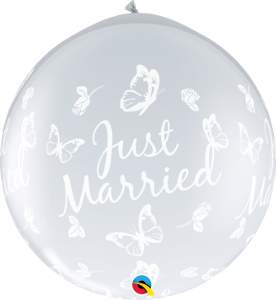3' DIAMOND CLEAR JUST MARRIED BUTTERFLIES INVERTED BALLOON