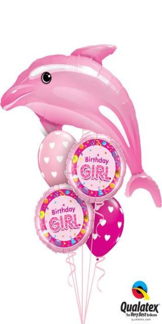 Pink Birthday Dolphin Bouquet (1 Pink Dolphin, 2 Foil, 2 Latex)