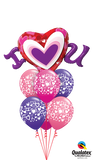 I (Heart) U Valentine Bouquet ( 1 I Heart U foil, 6 Latex)
