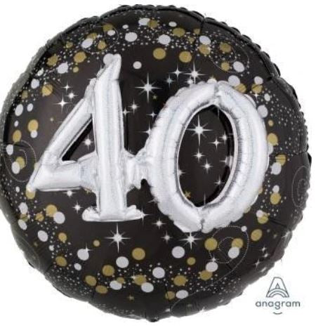 3D Effect Holographic 40th Birthday Balloon